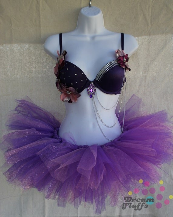 SALE Beautiful Pink and Purple Flower bra and Tutu outfit 34B