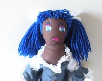 African American Rag Doll - Dark Skin Doll - EGL Doll - Upcycled Handmade Doll