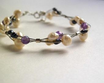 Pearl beaded bracelet / amethyst bracelet / gemstones freshwater pearls  jewelry / bridesmaid gift / wedding jewelry