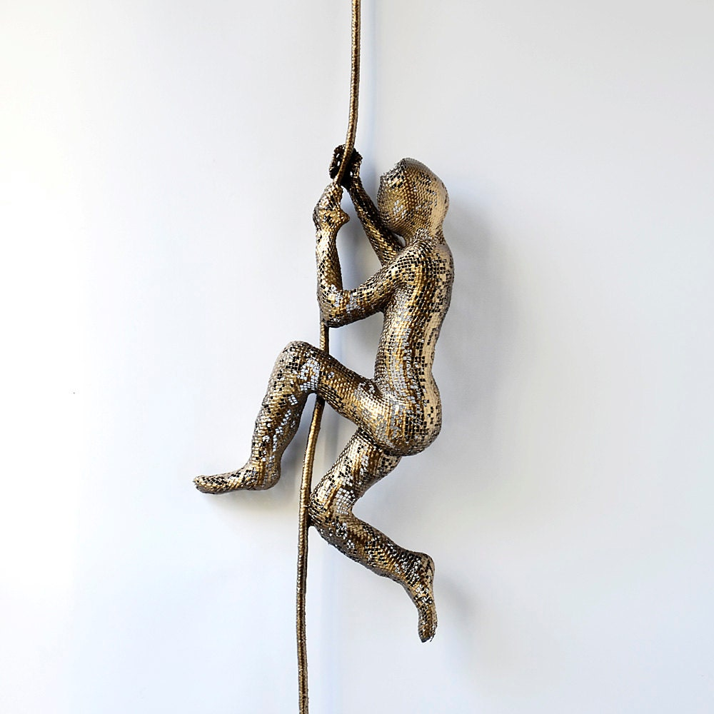 Metal sculpture climbing man on rope home decor by nuntchi Home decor sculptures