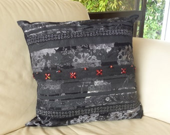 Decorative Black Pillow Cover. Elegant 20x20 Inch. Free shipping. Gift for grandparents. Gift for housewarming.