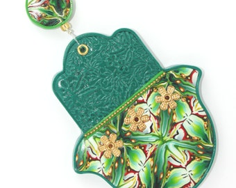 Green Hamsa, Polymer clay Hamsa, elegant wall decor, Good fortune Hamsa with variety of greens, yellow, orange and red