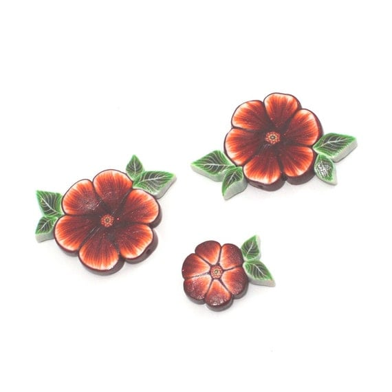 Polymer Clay flower beads, unique beads in maroon, red, orange and white, elegant flower pattern, Set of 3