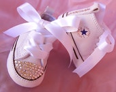 SIMPLY CRYSTALS Baby Shoe Converse Christening Sneaker Wedding Baptismal Swarovski Infant Girl Crib Shoe Size 1-4 Baptism Newborn Sneaker
