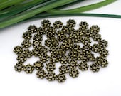 50 Antique Bronze Daisy Spacer Beads 4mm for Necklace, Craft, Jewelry  - Pack of 50 JF07