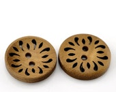 """50 Round Laser Cut Flower Wood Button Two Hole Light Coffee  Colour 23mm (7/8"""") Wholesale Bulk 50 Pack PWB16"""