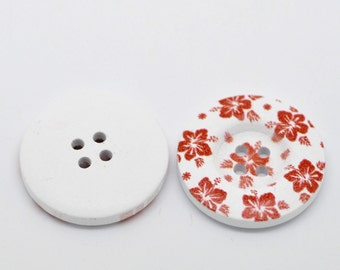 5 White Wood Painted Button Floral (Design No.28) Four Hole 30mm Pack of 5 WPB47