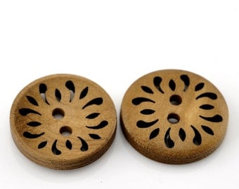 Light Coffee Round Laser Cut Flower Wood Two Hole Buttons for Sewing Knitting Crocheting Craft Jewelry Art Clothes Pack of 10 Colour 23mm