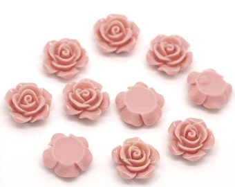 "10 Resin Flower Cabochon Delicate Rose - 14 x 6mm(1/2""x1/4"") - Dusty Rose Pink  - Pack of 10 CAB32"