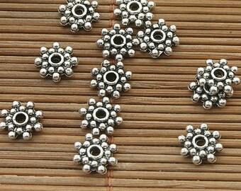 90pcs dark silver tone daisy flower spacer beads h3915