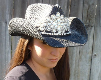 Ultimate bling black cowboy hat