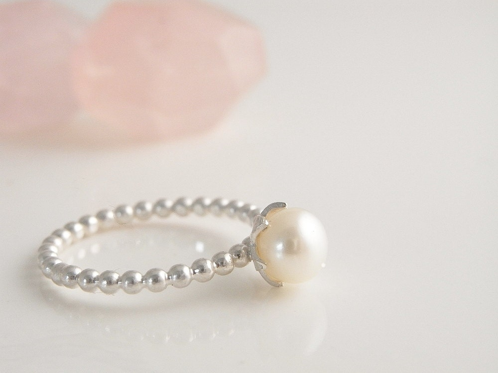 pearl ring handmade sterling silver ring freshwater pearl