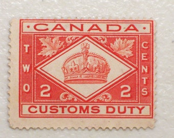 1912 Canada Customs Duty Stamp, 2 Cents, Mint