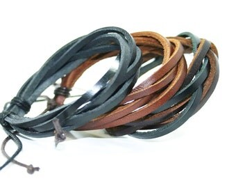 Real Leather Wrap Bracelet Couple Bracelets Leather Braid Wax Cord Layered Cuff