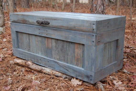 Large weathered gray hope chest coffee table end of the bed - Table at the end of the bed ...