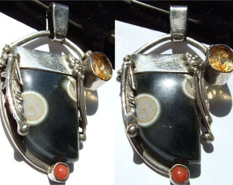 ocean jasper ,citrine and coral Sterling silver Organic pendant