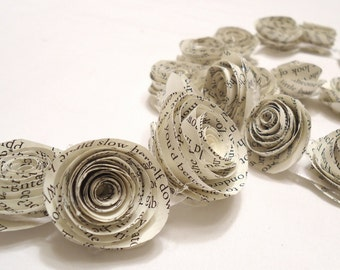 Paper garland. paper rose garland. rose garland. wedding garland. Party garland. Spring Party. Flower garland. book page flowers