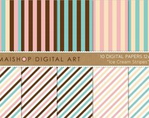 Digital Paper - Ice Cream Stripes - Vanilla, Baby Pink, Blue, White and Chocolate Brown Striped Papers for Scrapbook, Cards..