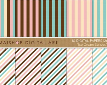 Digital Paper 'Ice Cream Stripes' Vanilla, Baby Pink, Blue, White and Chocolate Brown Striped Papers for Scrapbook, Cards..