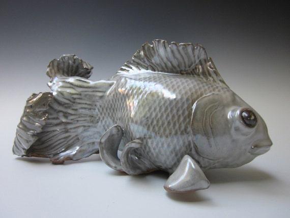 White Goldfish, Goldfish Sculpture, Double Tailed Goldfish, Exotic Goldfish, Fish