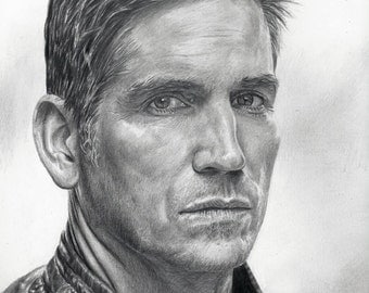 Drawing Print of Jim Caviezel as John Reese from Person of Interest