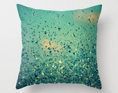 Lullaby - Go to Sleep - Art Photography Pillow Case Cover - Blue, Sky, Clouds, Rain, Raindrops, Nature, teal,
