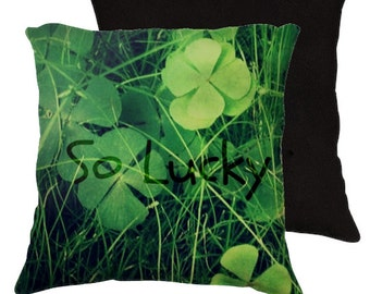 So Lucky  - Throw Pillow - Cotton Art Pillow Case Only -  Photography -Green, Lucky, 4 leaf clover, clovers, nature, RDelean