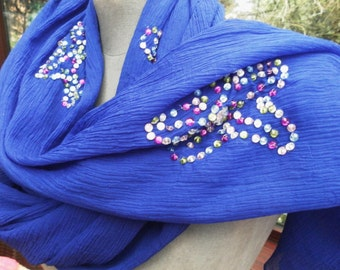 stunning sheer silver sequined blue boho chiffon silk wrap or scarf