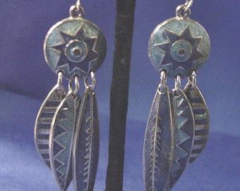 Vintage Edward Berebi Shades of Blue Enamel Dangle Pierced Earrings