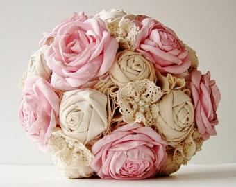 Vintage Bridal Bouquet, Fabric Flower Bouquet,  Wedding Bouquet,  Pink Roses