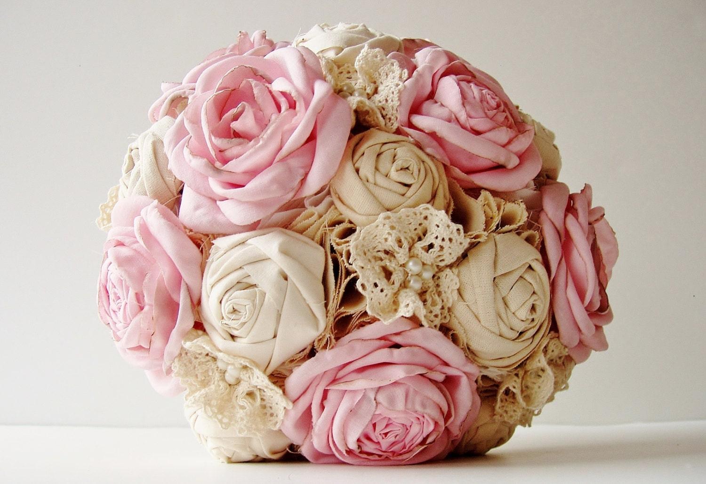 Rustic Fabric Wedding Bouquets Vintage Bridal Bouquet Flower By Love