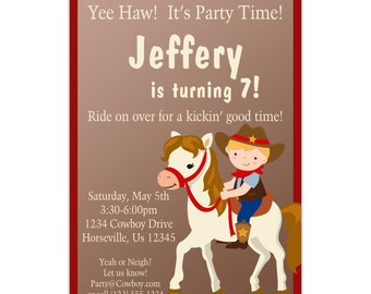 Cowboy Invitation - Adorable Brown Boy Cowboy and Horse Personalized Birthday Party Invite - a Digital Printable File