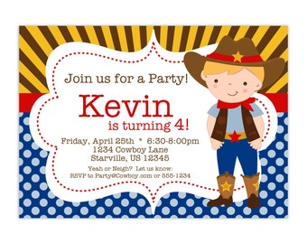 Cowboy Invitation - Brown Gold Striped and Blue Polka Dot Boy Cowboy Personalized Birthday Party Invite - a Digital Printable File