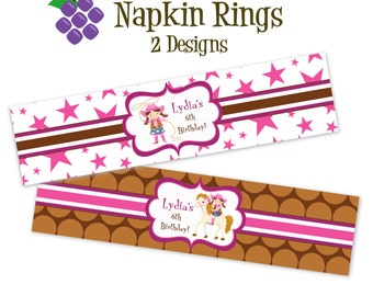 Cowgirl Napkin Rings - Pink Stars, Brown Polka Dot Cowgirl and Horse Personalized Birthday Party Favor Napkin Rings - Digital Printable File