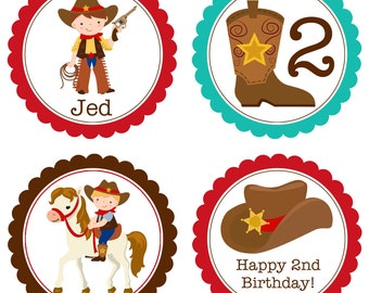 Cowboy Party Circles - Turquoise, Brown, Red, Western Cowboy Hat, Horse Shoe Personalized Birthday Party Circles - A Digital Printable File