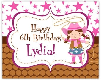 Cowgirl Party Sign - Pink Stars, Brown Polka Dots, Little Girl Cowgirl Personalized Birthday Party Welcome Sign - a Digital Printable File