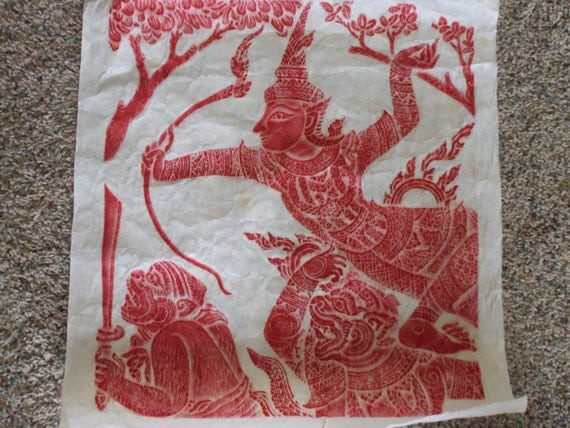 Temple Rubbing On Rice Paper From Cambodia Or Thailand