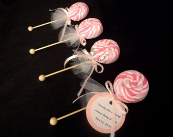 12 CT- Washcloth Lollipops, Baby Shower Favors, Diaper Cake, Candy Baby Shower, Decorations, Centerpiece, baby shower games, sweet treats