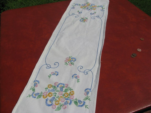 Vintage embroidered dresser scarf by myrae on etsy