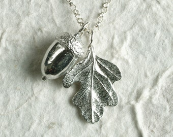 Acorn and Oak Leaf Necklace UK Made Pewter Jewelry