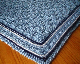 Crochet Pattern for Baby Blanket, Basket Weave Stitch Baby Afghan, Cot Blanket. Cabled Baby Rug