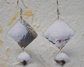 Dangle Sterling Silver Earrings ,Handmade ,You can order any size of squares ,6 cm height ,2.7 cm Width