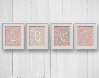 4x Floral Prints Custom Word, Grey and Peach with Flowers, Nursery Art Letters, Personalized, Feminine Modern Typography, 8x10, Folk Country