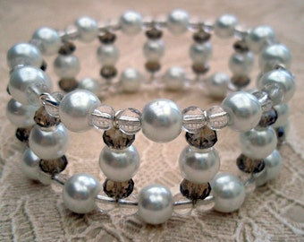 White Glass Pearls, Clear Glass and Smokey Brown Crystal Bangle