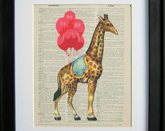 Circus Giraffe with Red Balloons printed on an antique dictionary page