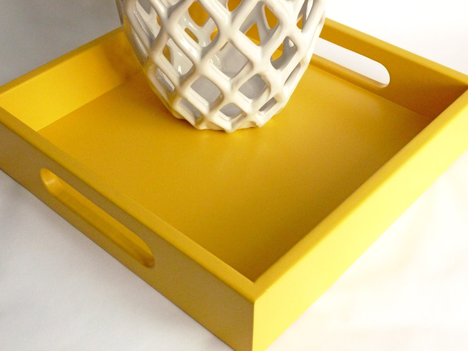 Sunny Yellow 12 X 12 Painted Wood Square Serving Tray Yellow