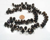 FANTASTIC DEAL- 2 x strand  Smokey Quartz   faceted tear drops- Time to go 13