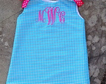 Baby Monogrammed Girls Dress Turquoise Aqua and Hot Pink Easter Dress Baby Shower Gift Boutique Birthday Outfit Summer Beach Pictures