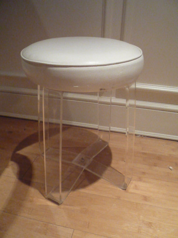 Vintage lucite vanity stool bench chair seat by feelinvintage - Acrylic vanity chair ...