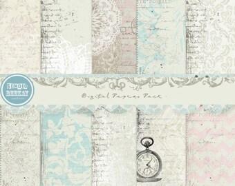 Digital Scrapbooking Papers pack, 12x 12 in 300 dpi vol.50 - INSTANT DOWNLOAD